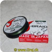043178132784 - J-Braid X8 Dark Green fletline 0.13mm - Brudstyrke: 18lbs/8.1kgs 150 meter Mørk grøn  Made in Japan