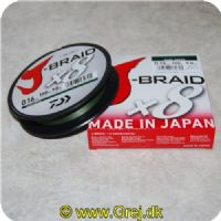 043178132791 - J-Braid X8 Dark Green fletline 0.16 mm - Brudstyrke: 20lbs/9.1kgs 150 meter Mørk grøn  Made in Japan