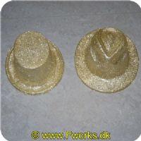 5704777037638 - Gangster hatte med glimmer - Assorterede (Guld. Grøn. Sort. Sølv) høj eller rund