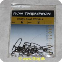 5706301613561 - Ron Thomsen Cross Snap Swivels str. 6 - 8 stk