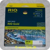 730884212274 - Rio Gold WF3 Floating - Hovedlængde: 13.7m - Hovedvægt: 10.6g - Moss/Gold - Rio Gold er den ultimative all-round flydende line for freskvandsfiskere