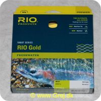 730884212298 - Rio Gold WF5 Floating - Hovedlængde: 14.3m - Hovedvægt: 14.8g - Moss/Gold - Rio Gold er den ultimative all-round flydende line for freskvandsfiskere