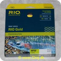 730884212304 - Rio Gold WF6 Floating - Hovedlængde: 14.6m - Hovedvægt: 17.2g - Moss/Gold - Rio Gold er den ultimative all-round flydende line for freskvandsfiskere