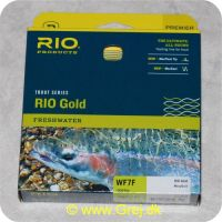 730884212311 - Rio Gold WF7 Floating - Hovedlængde: 14.9m - Hovedvægt: 20.2g - Moss/Gold - Rio Gold er den ultimative all-round flydende line for freskvandsfiskere