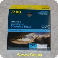 730884522502 - Rio Coastal Seatrout Shooting Head Saltwater - Klasse 5/6 - 14g/F - Teal/White - 8.8 meter - Loops i begge ender