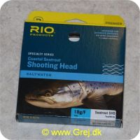 730884522526 - Rio Coastal Seatrout Shooting Head Saltwater - Klasse 7/8 - 18g/F - Teal/White - 10 meter - Loops i begge ender
