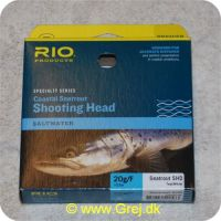 730884522533 - Rio Coastal Seatrout Shooting Head Saltwater - Klasse 8/9 - 20g/F - Teal/White - 10.5 meter - Loops i begge ender