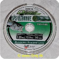 DY20 - Dyneema Ultrawire Braided Fletline - 0,20mm - 15,0 kg - 100m Grå
