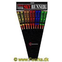 J5 - Sky Runners 10 raketter  Store cylinder raketter 5 forskellige effekter Store brag med flotte effekter