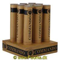 RY04 - Commando 9 skuds batteri med råt udseende Special batteri med miner og bomber i alle opskud.  Kaliber:30 Bærende effekter: Silver chrysatemum. Guld coconut. White glitter NEM: 192g