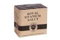 RY48 - Royal Classic<br>Batteri<br>Titanium Salut. 25mm. 25 skud<br>NEM 195g<br>Salutbatteri – kæmpe knald for alle pengene!<br> Silver spinner. Titanium salute. White glitter.<br>